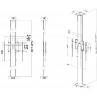 Fixation 1 ecran pour colonne sol mur