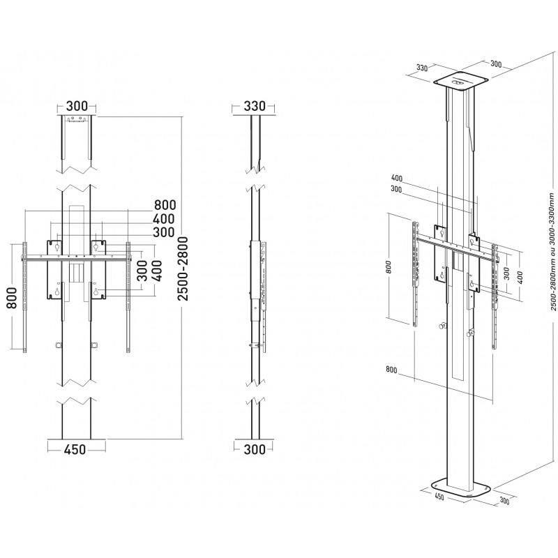 fixation 1 ecran pour colonne sol mur ou sol plafond erard pro. Black Bedroom Furniture Sets. Home Design Ideas